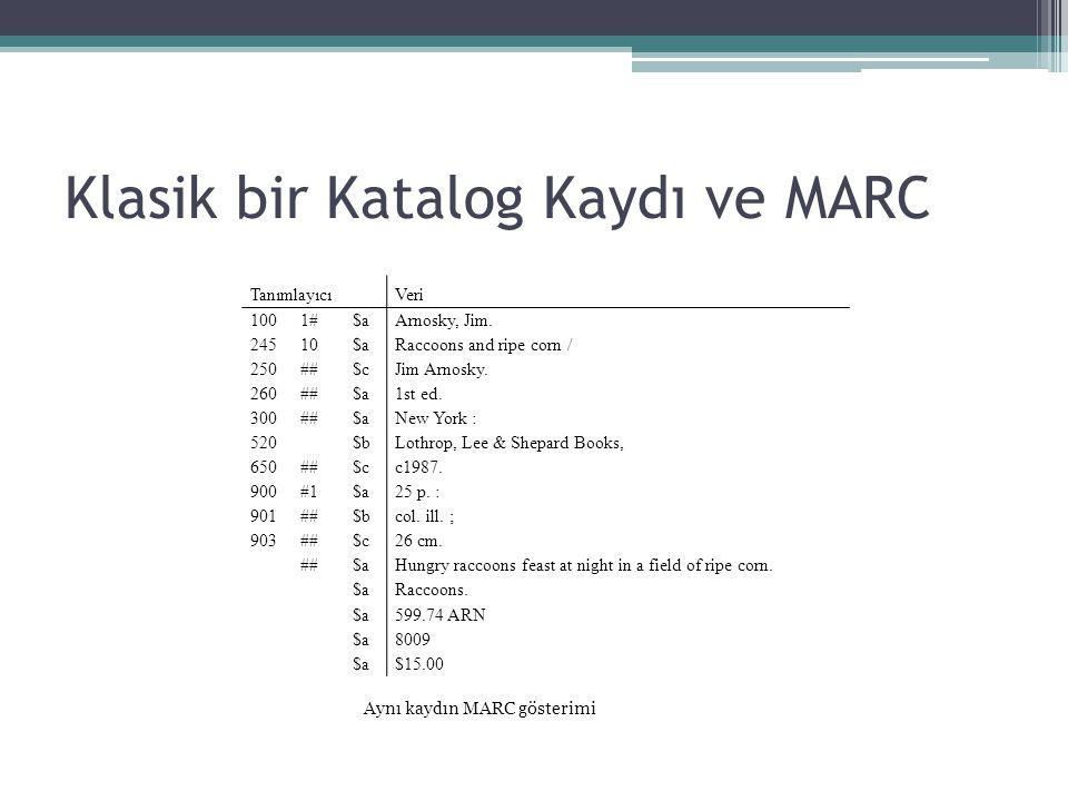 Klasik bir Katalog Kaydı ve MARC