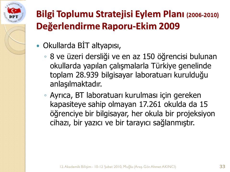 Bilgi Toplumu Stratejisi Eylem Planı (2006-2010) Değerlendirme Raporu-Ekim 2009