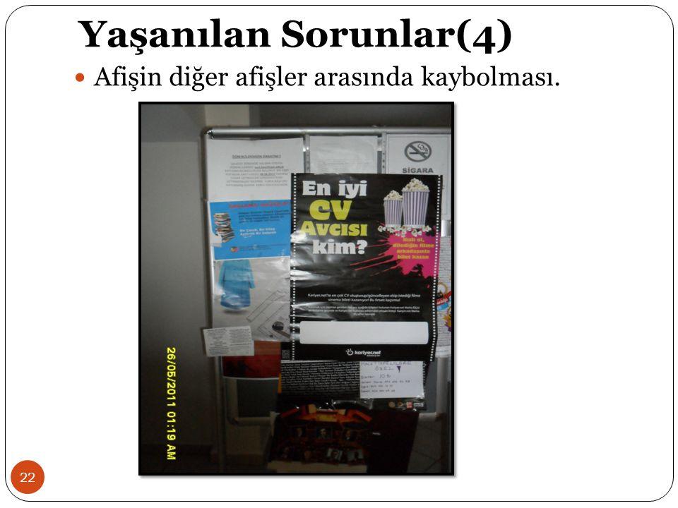 Yaşanılan Sorunlar(4) Afişin diğer afişler arasında kaybolması.