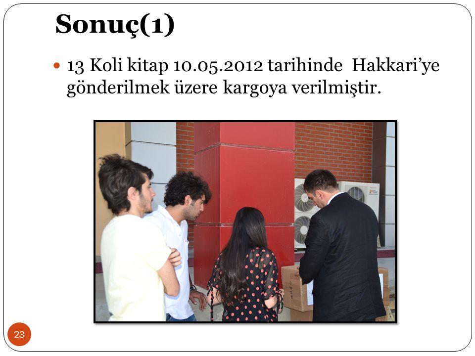 Sonuç(1) 13 Koli kitap 10.05.2012 tarihinde Hakkari'ye gönderilmek üzere kargoya verilmiştir.