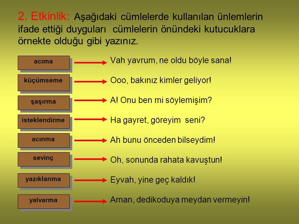 2. Etkinlik: Aşağıdaki cümlelerde kullanılan ünlemlerin ifade ettiği duyguları cümlelerin önündeki kutucuklara örnekte olduğu gibi yazınız.