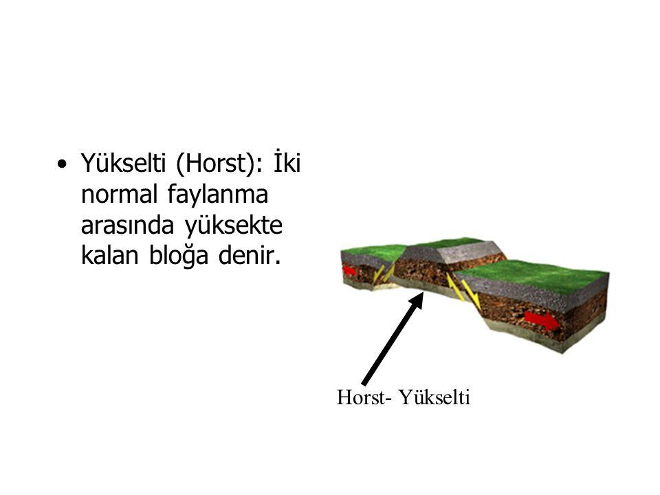 Yükselti (Horst): İki normal faylanma arasında yüksekte kalan bloğa denir.