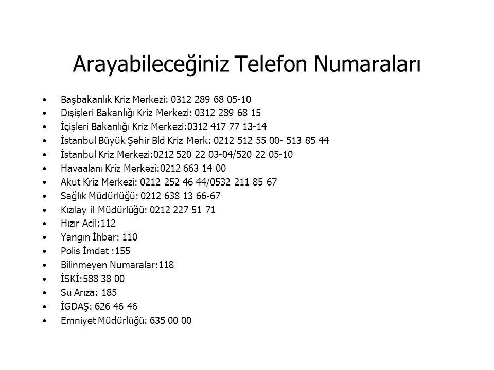 Arayabileceğiniz Telefon Numaraları