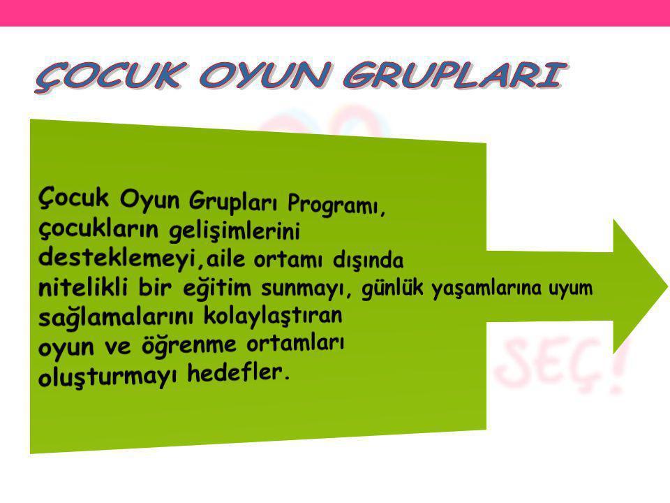 ÇOCUK OYUN GRUPLARI Çocuk Oyun Grupları Programı,