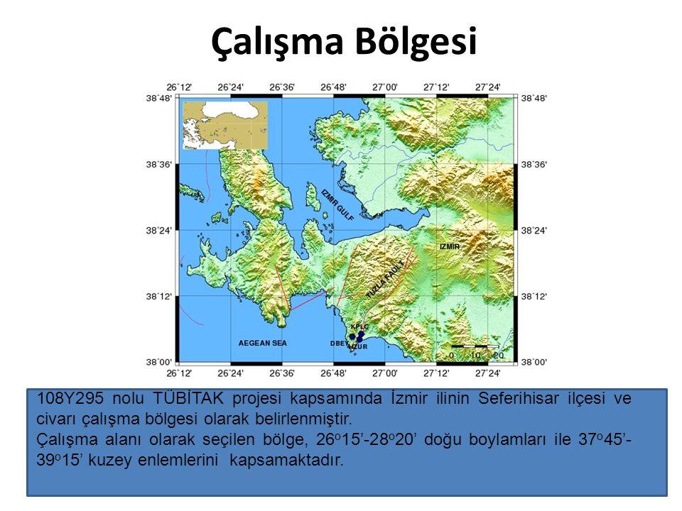 Çalışma Bölgesi 108Y295 nolu TÜBİTAK projesi kapsamında İzmir ilinin Seferihisar ilçesi ve civarı çalışma bölgesi olarak belirlenmiştir.