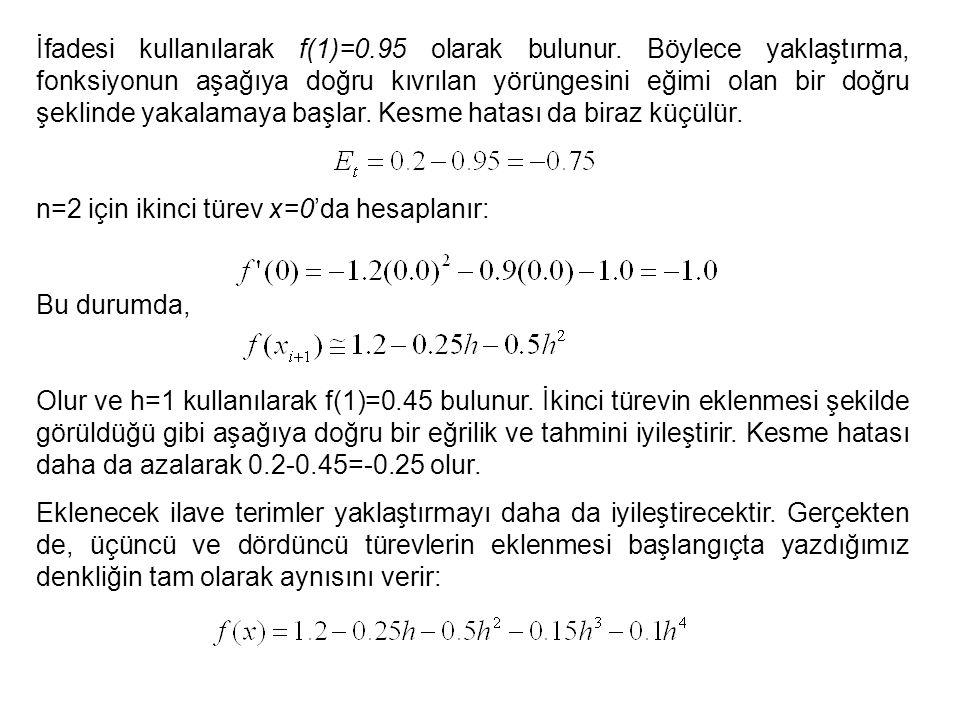 İfadesi kullanılarak f(1)=0. 95 olarak bulunur