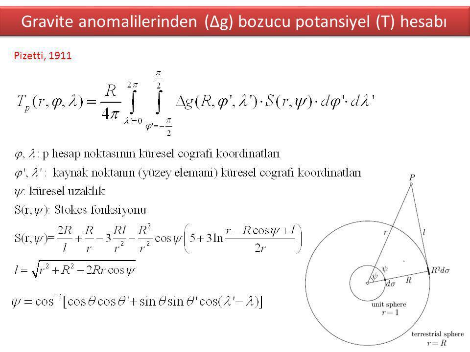 Gravite anomalilerinden (∆g) bozucu potansiyel (T) hesabı