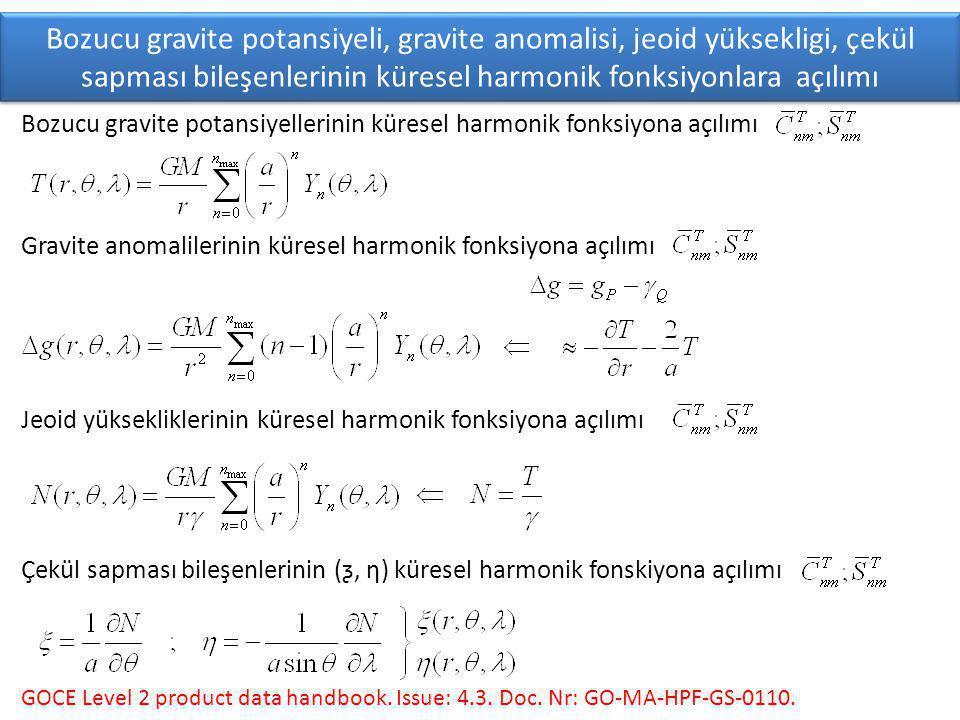 Bozucu gravite potansiyeli, gravite anomalisi, jeoid yüksekligi, çekül sapması bileşenlerinin küresel harmonik fonksiyonlara açılımı