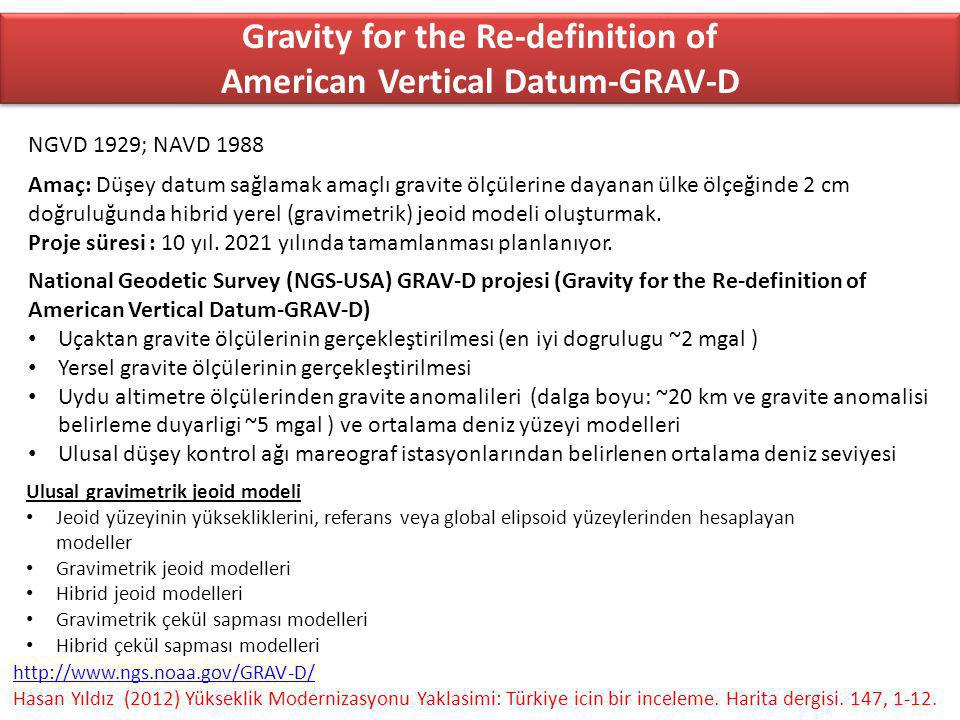Gravity for the Re-definition of American Vertical Datum-GRAV-D