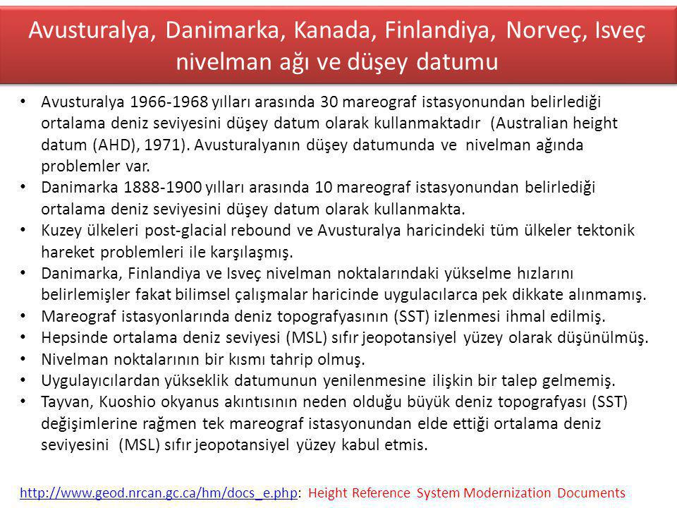 Avusturalya, Danimarka, Kanada, Finlandiya, Norveç, Isveç nivelman ağı ve düşey datumu