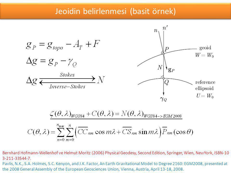Jeoidin belirlenmesi (basit örnek)