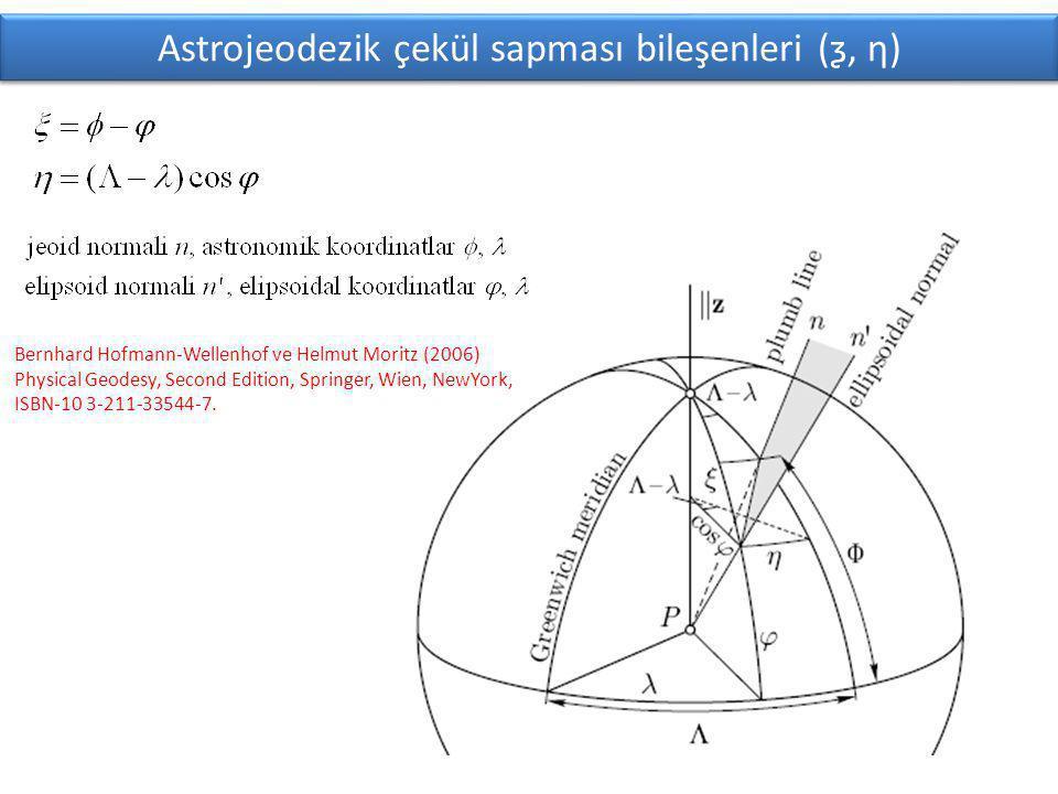 Astrojeodezik çekül sapması bileşenleri (ƺ, ƞ)