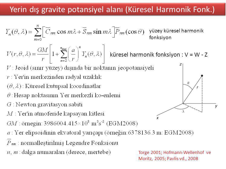 Yerin dış gravite potansiyel alanı (Küresel Harmonik Fonk.)