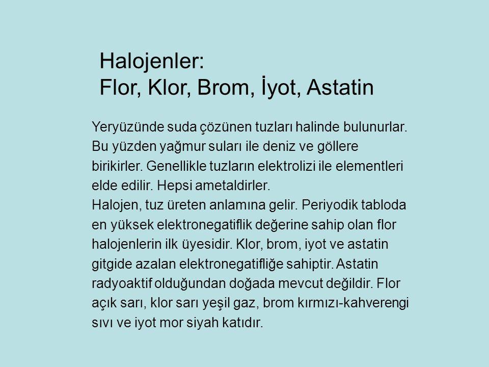 Flor, Klor, Brom, İyot, Astatin