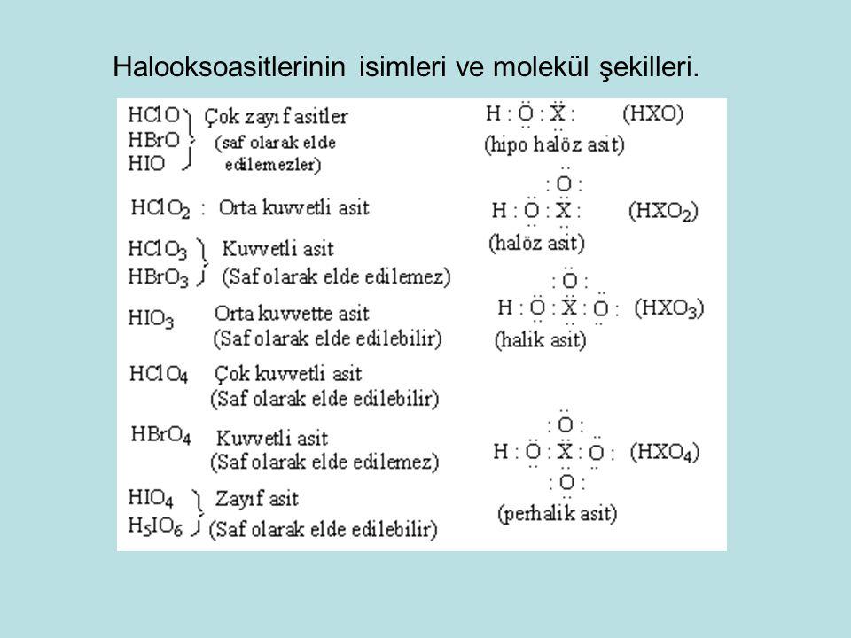 Halooksoasitlerinin isimleri ve molekül şekilleri.