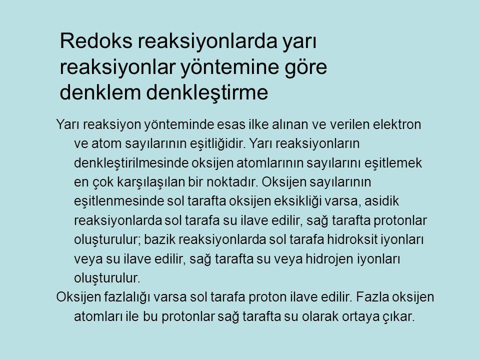 Redoks reaksiyonlarda yarı reaksiyonlar yöntemine göre denklem denkleştirme