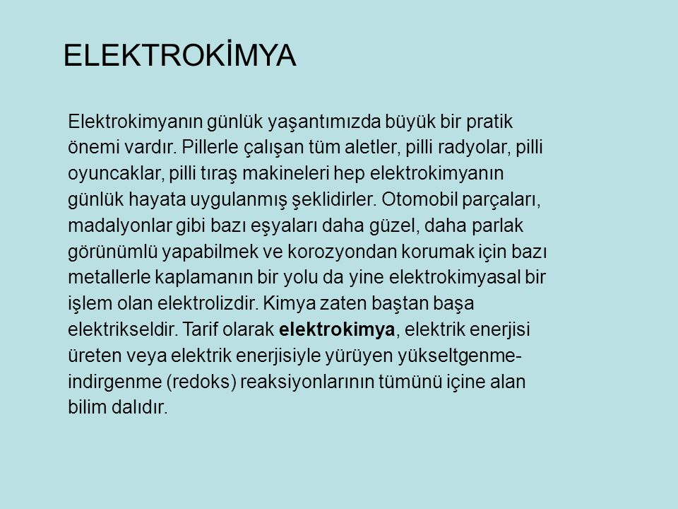 ELEKTROKİMYA