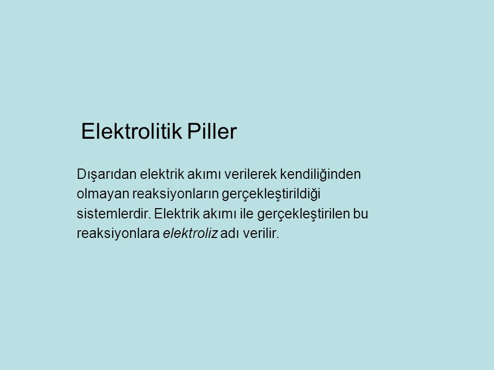 Elektrolitik Piller