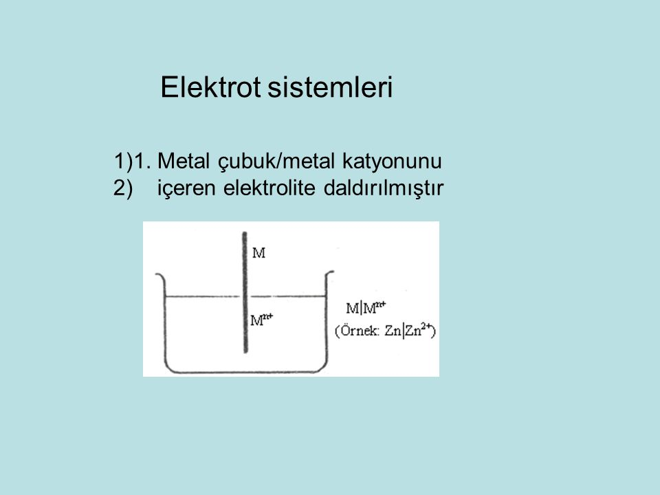 Elektrot sistemleri 1. Metal çubuk/metal katyonunu