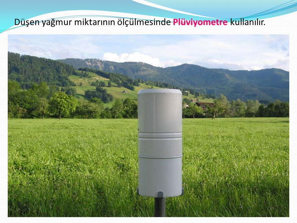 Düşen yağmur miktarının ölçülmesinde Plüviyometre kullanılır.