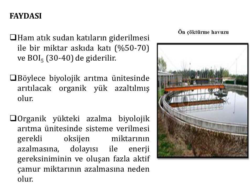 FAYDASI Ham atık sudan katıların giderilmesi ile bir miktar askıda katı (%50-70) ve BOI5 (30-40) de giderilir.