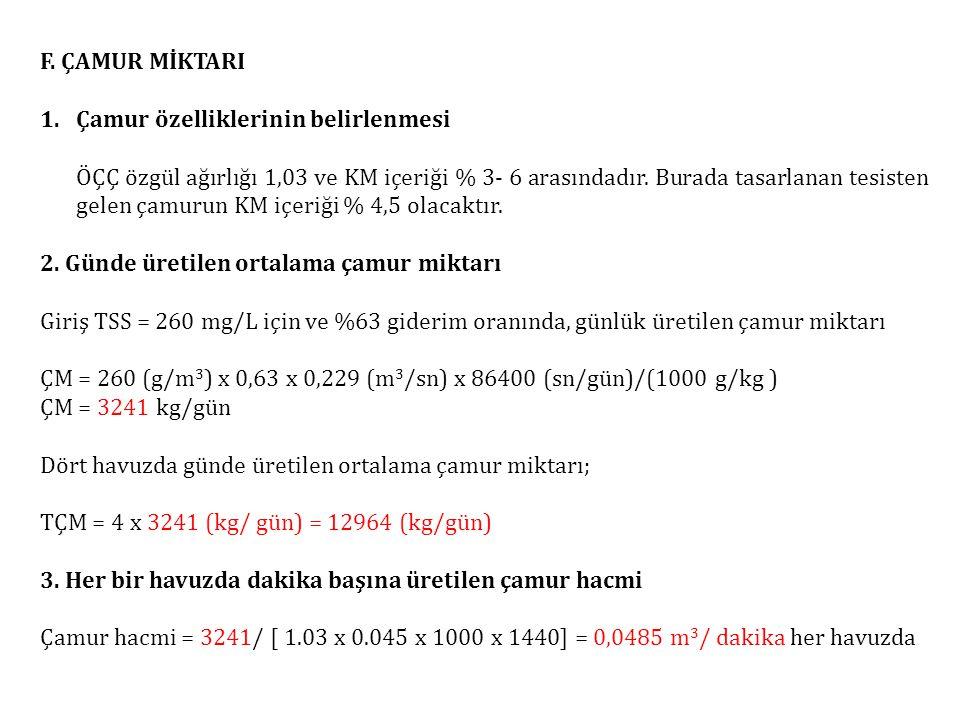 F. ÇAMUR MİKTARI Çamur özelliklerinin belirlenmesi.