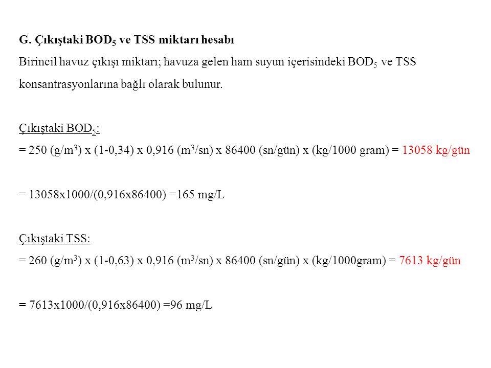 G. Çıkıştaki BOD5 ve TSS miktarı hesabı