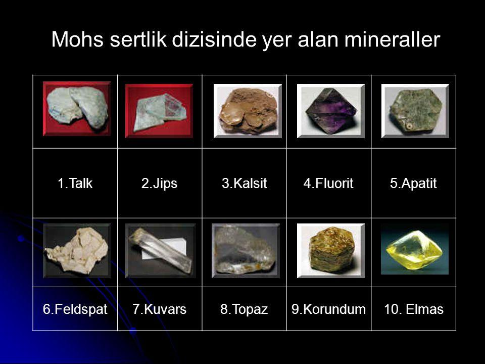 Mohs sertlik dizisinde yer alan mineraller