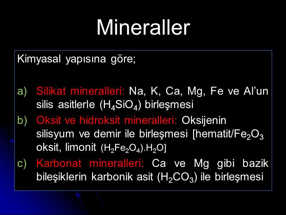 Mineraller Kimyasal yapısına göre;