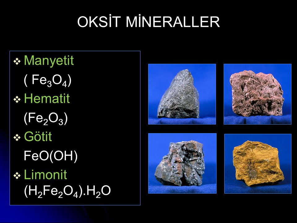OKSİT MİNERALLER Manyetit ( Fe3O4) Hematit (Fe2O3) Götit FeO(OH)