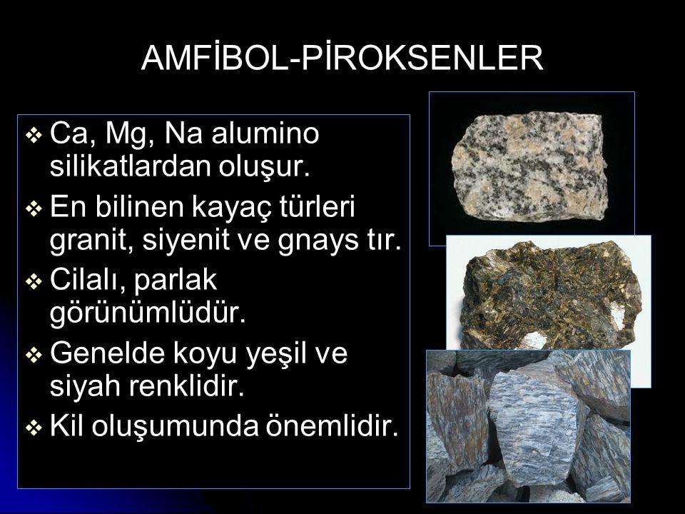 AMFİBOL-PİROKSENLER Ca, Mg, Na alumino silikatlardan oluşur.