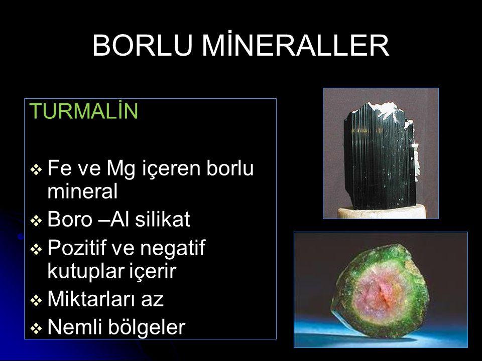 BORLU MİNERALLER TURMALİN Fe ve Mg içeren borlu mineral