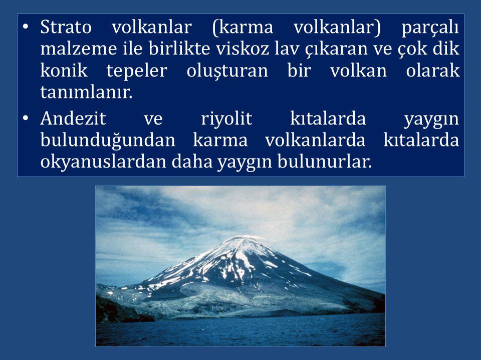 Strato volkanlar (karma volkanlar) parçalı malzeme ile birlikte viskoz lav çıkaran ve çok dik konik tepeler oluşturan bir volkan olarak tanımlanır.