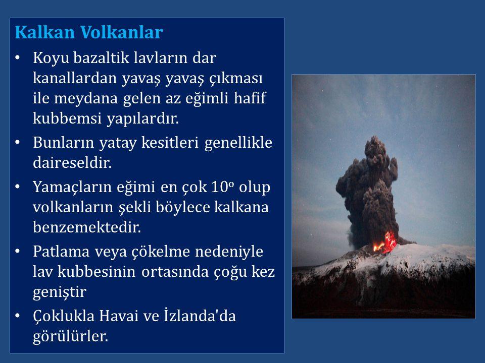 Kalkan Volkanlar Koyu bazaltik lavların dar kanallardan yavaş yavaş çıkması ile meydana gelen az eğimli hafif kubbemsi yapılardır.