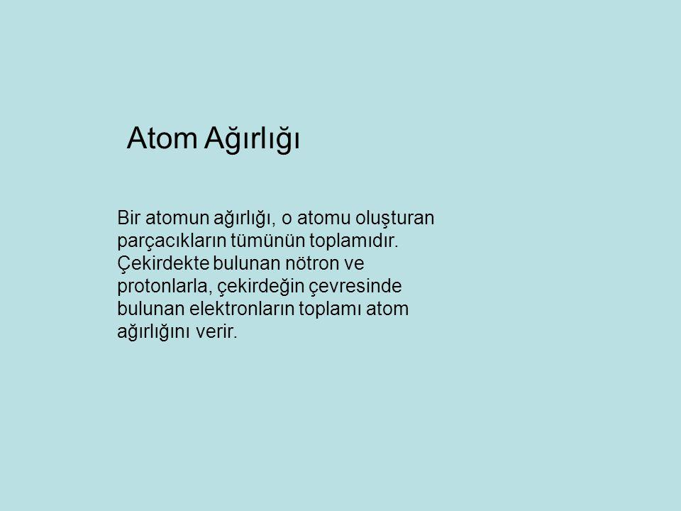 Atom Ağırlığı Bir atomun ağırlığı, o atomu oluşturan parçacıkların tümünün toplamıdır. Çekirdekte bulunan nötron ve.