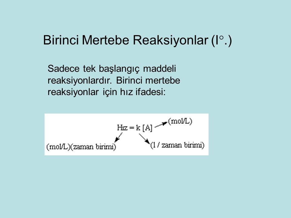 Birinci Mertebe Reaksiyonlar (I.)