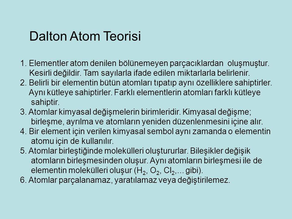 Dalton Atom Teorisi 1. Elementler atom denilen bölünemeyen parçacıklardan oluşmuştur.