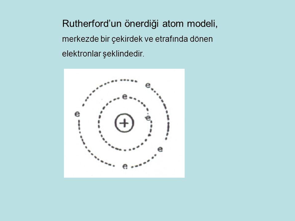 Rutherford'un önerdiği atom modeli,