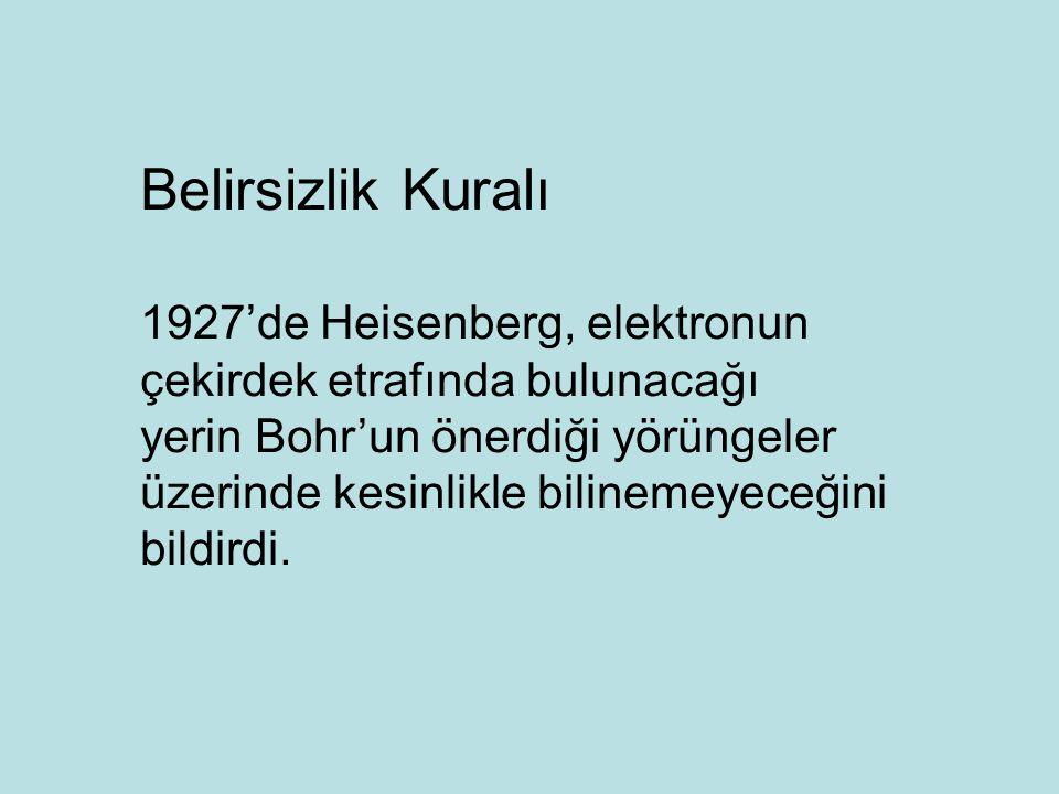 Belirsizlik Kuralı 1927'de Heisenberg, elektronun çekirdek etrafında bulunacağı.