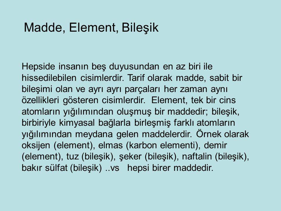 Madde, Element, Bileşik