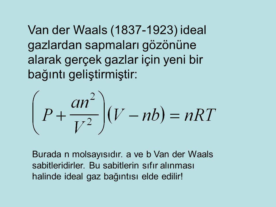 Van der Waals (1837-1923) ideal gazlardan sapmaları gözönüne alarak gerçek gazlar için yeni bir bağıntı geliştirmiştir: