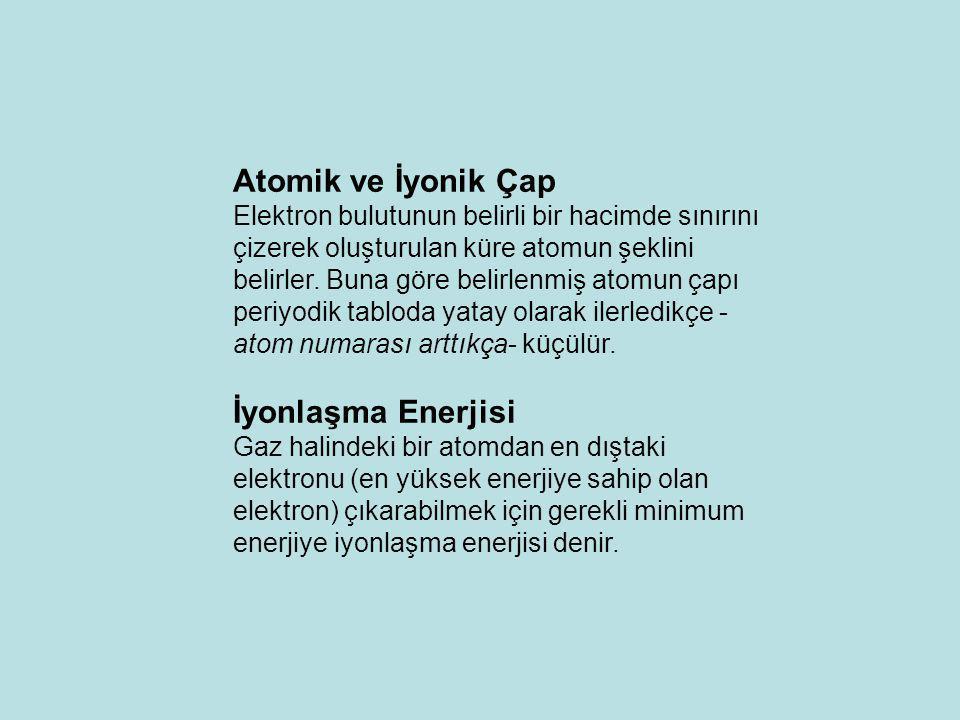 Atomik ve İyonik Çap İyonlaşma Enerjisi