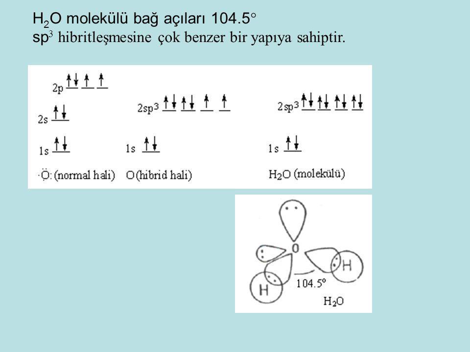 H2O molekülü bağ açıları 104.5
