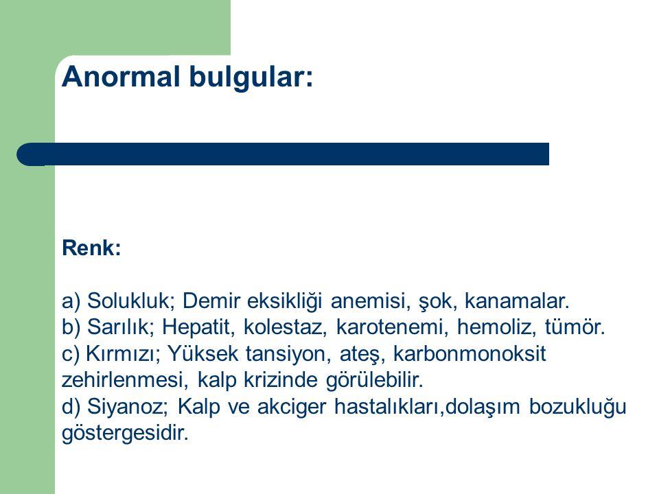 Anormal bulgular: Renk: