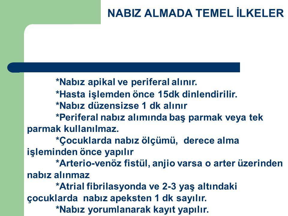 NABIZ ALMADA TEMEL İLKELER