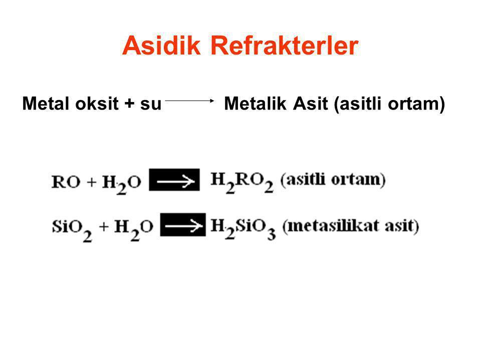 Asidik Refrakterler Metal oksit + su Metalik Asit (asitli ortam)