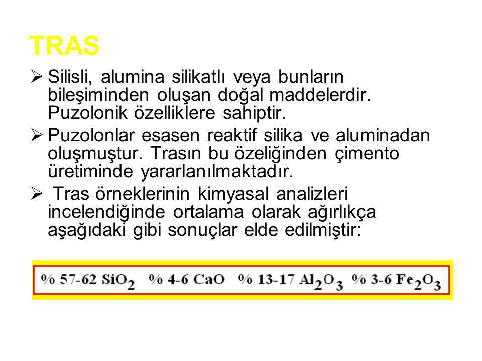 TRAS Silisli, alumina silikatlı veya bunların bileşiminden oluşan doğal maddelerdir. Puzolonik özelliklere sahiptir.