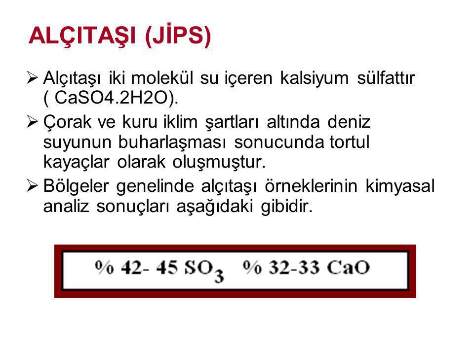 ALÇITAŞI (JİPS) Alçıtaşı iki molekül su içeren kalsiyum sülfattır ( CaSO4.2H2O).