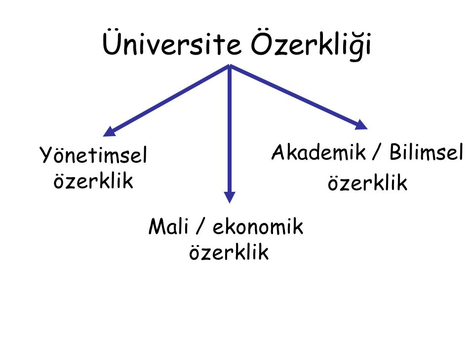 Üniversite Özerkliği Akademik / Bilimsel Yönetimsel özerklik özerklik