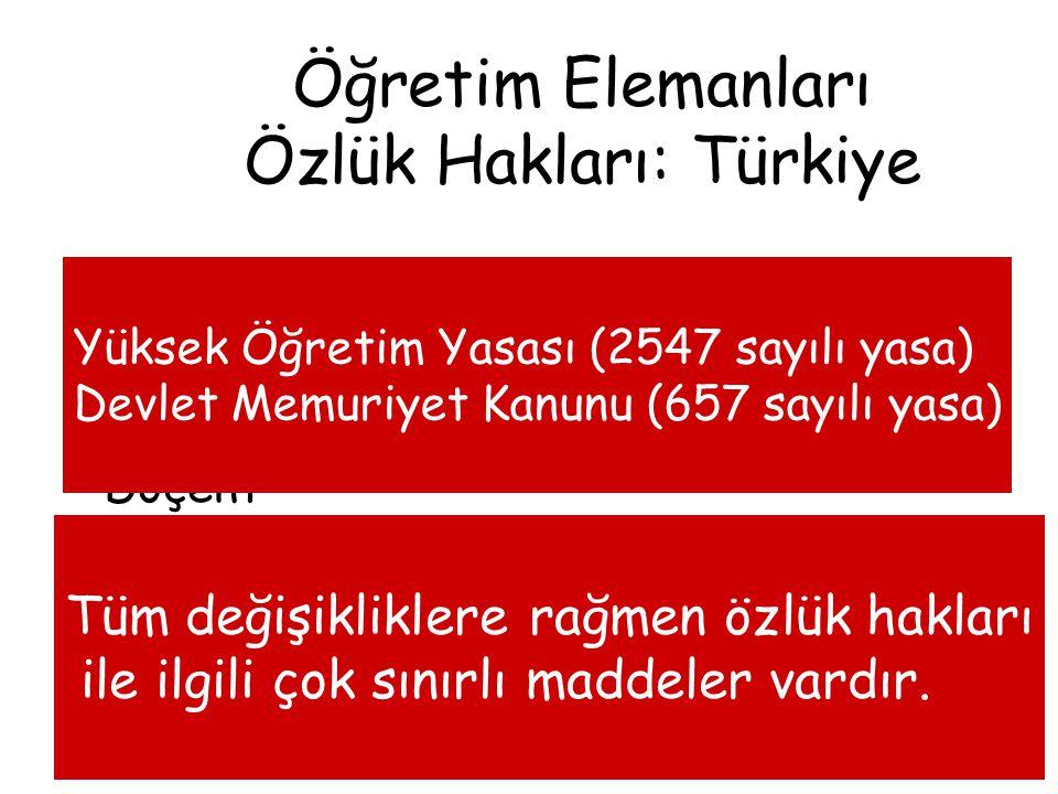 Öğretim Elemanları Özlük Hakları: Türkiye